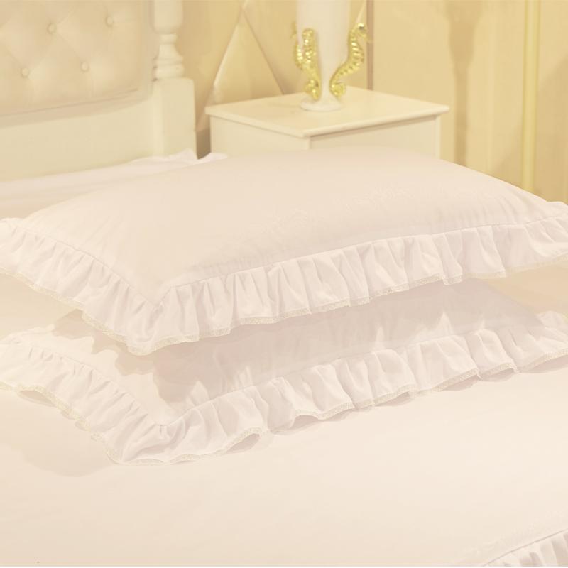 韩版花边枕头套枕套一对装单人学生枕套48 74cm枕芯套J  48cmX74cm