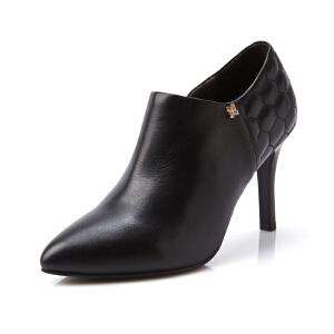 富贵鸟头层牛皮尖头套脚女鞋 金属花瓣装饰踝靴侧拉链 简约大方女单鞋鞋满口鞋