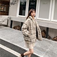 七格格羽绒服女短款韩版潮2019新款冬季格子长袖时尚宽松学生上衣