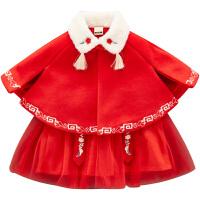 女宝宝冬装过新年拜年服斗篷唐装汉服婴幼儿中国风周岁