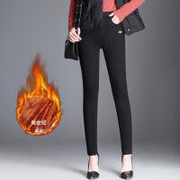 冬季新款高腰加绒保暖牛仔裤女长裤2017大码弹力修身加厚小脚裤 黑色