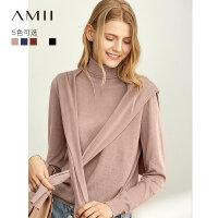【到手价:136元】Amii极简法式气质高领针织衫毛衣女2019秋新款长袖羊毛打底衫上衣