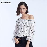 Five Plus女装波点雪纺衬衫女长袖一字露肩宽松衬衣拼荷叶边