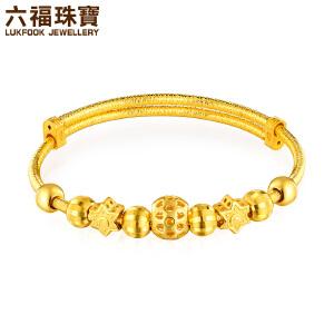 六福珠宝黄金转运珠手链星星圆珠串珠足金手镯子B01TBGB0040
