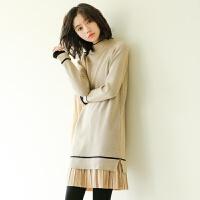 中长款半高领套头毛衣女秋冬百搭打底衫针织连衣裙冬装韩版毛衣裙 均码