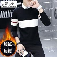 夏妆冬季加绒加厚衬衫领假两件毛衣男士针织衫青年学生韩版保暖打底衫