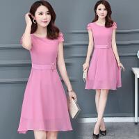 雪纺连衣裙中长款2018夏季新款30-40岁时尚气质韩版显瘦短袖裙子