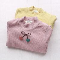 女童加绒T恤打底衫秋冬新款韩国童装宝宝小樱桃加厚绒衫卫衣