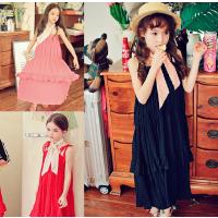 韩国童装女童夏亲子装母女韩版沙滩吊带裙中大儿童连衣裙蛋糕长裙