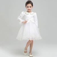 儿童婚纱宝宝生日裙娃娃领演出服装 2016女童晚礼服秋冬花童公主裙厚款 白色娃娃领厚款短礼服