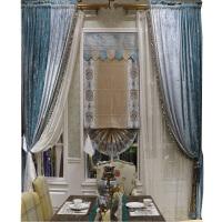 欧式窗帘布料法式纯色窗帘卧室遮光客厅窗帘丝绒蓝色如鱼得水定制