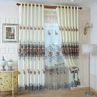 欧式窗帘成品半遮光窗帘布简约现代卧室飘窗纱帘客厅落地窗平面窗