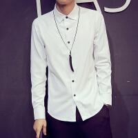 韩观春季新款男士长袖衬衫韩版修身时尚潮青少年休闲纯白色衬衣男生