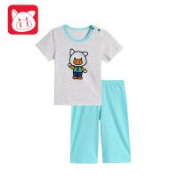【99元3件】小猪班纳童装宝宝套装2018夏装新款婴儿男童运动衣服儿童短裤上衣