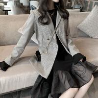 秋冬新品复古chic千鸟格西装外套女+拼接网纱黑色鱼尾长袖连衣裙