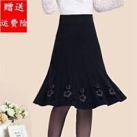 新品秋冬中老年女装半身裙黑色大码半裙A字裙中长裙膝下裙大摆裙