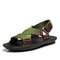 夏季沙滩鞋真皮男凉鞋男士罗马凉鞋韩版个性越南凉鞋男款室外男鞋