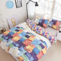 ins北欧简约全棉四件套纯棉床上用品三件套学生宿舍单人床单被套