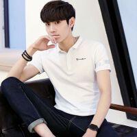 2018男装夏季男式Polo衫青年日系潮流印条纹休闲短袖T恤