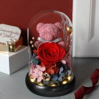 七夕情人节礼物送女友花送老婆永生花礼盒玻璃罩情人节生日毕业礼物小熊玫瑰花干花束送女友