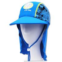 时尚儿童防晒帽印花泳帽遮阳帽护颈帽可调节沙滩防晒 潮  可礼品卡支付