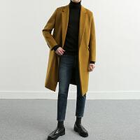 2017呢大衣男秋冬毛呢大衣宽松双面羊绒大衣男中长款青年韩版外套 姜黄色 S