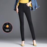 高腰加绒牛仔裤女冬季新款保暖女长裤加绒加厚小脚裤 黑色
