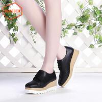 SHOEBOX/鞋柜时尚布洛克厚底潮搭韩版休闲坡跟松糕女鞋