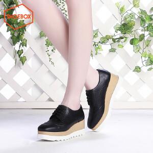 达芙妮集团 鞋柜时尚布洛克厚底潮搭韩版休闲坡跟松糕女鞋6