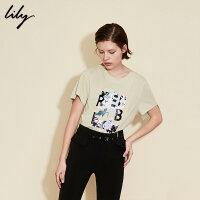 Lily春夏新款女装OL不对称胸口字母印花直筒T恤118239A8915