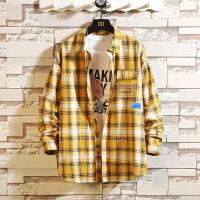 新款长袖衬衫男士韩版潮流宽松格子休闲衬衣男装衣服寸衫外套