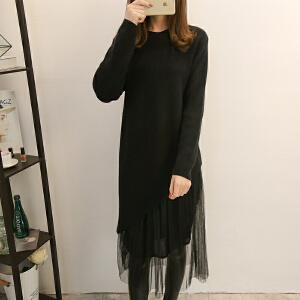 2018秋季针织连衣裙两件套新款女装韩版百褶摆圆领长袖打底裙女装