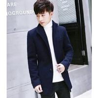 春秋季男士外套风衣中长款韩版妮子男装毛呢大衣男款加厚青年披风 深蓝色不加绒 AD 5 M