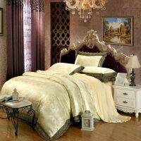 欧式莫代尔贡缎提花四件套1.8m白色蕾丝被套床单婚庆床上用品2米