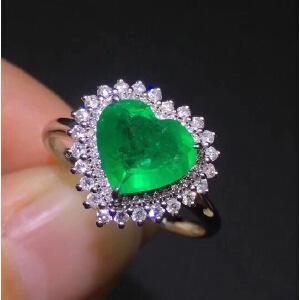 天然祖母绿心形吊坠,海洋之心!祖母绿被称为绿宝石之王