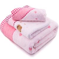 [当当自营]三利 纯棉无捻纱绣小熊方巾/毛巾/浴巾礼盒装三件套 粉色