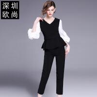 新款女装夏季时尚气质泡泡袖上衣九分小脚裤两件套套装 黑色