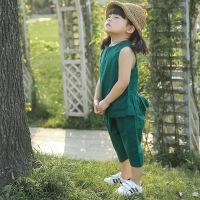 小童女宝宝棉麻套装女宝女童无袖背心套夏天儿童时尚女装韩版