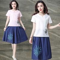 棉麻短袖T恤女装夏季新款宽松大码民族风上衣体恤潮