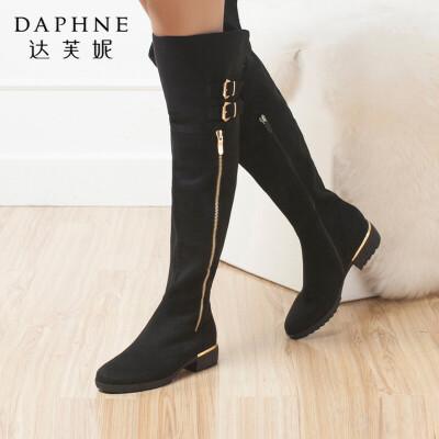 达芙妮女靴冬季时尚皮带扣靴子平底低跟高筒过膝侧拉链女长筒靴年末清仓,售罄不补货!