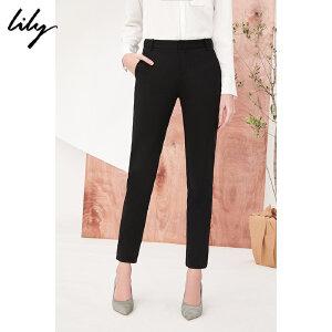 【每满200减100】NASALily2018秋新款女装黑色修身铅笔裤商务通勤九分裤118120C5616