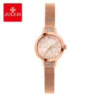 正品 聚利时Julius六叶草手表女学生不锈钢网带水钻防水女士手表
