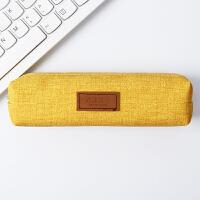 创意笔袋文艺约铅笔盒纯色笔袋女ins韩国文具袋日系学生实用文具盒送同学朋黄色