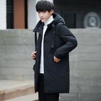 反季清仓轻薄羽绒服青年韩版男士冬季中长款修身加厚青年学生外套 黑色 M