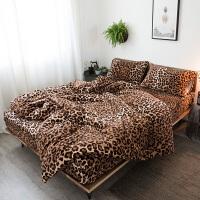 北欧豹纹冬季加厚保暖水晶绒床上用品四件套牛奶绒珊瑚绒被套床单