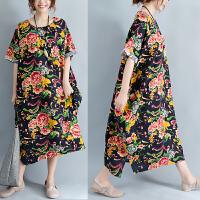 棉麻连衣裙夏季大码中长款宽松舒适长袍短袖印花民族风长裙200斤