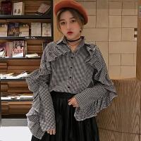2018春季女装新款韩版宽松复古荷叶边长袖格子衬衣学生打底衬衣女