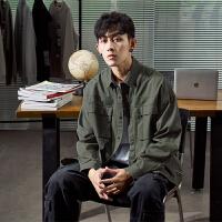限时抢购价139唐狮2019秋季工装衬衫男长袖港风宽松军绿色多口袋衬衣纯棉外套潮