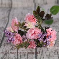 康乃馨仿真花套装欧式假花干花束家居客厅餐桌电视柜装饰花艺摆件