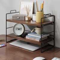 简易置物架书架办公室桌面整理收纳架家用桌上多层铁艺书桌小架子